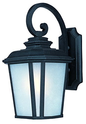 Maxim 55644WFBO Radcliffe LED 1-Light Medium Outdoor Wall, Black Oxide Finish, Weathered Frost Glass, GU24 LED Bulb , 60W Max., Dry Safety Rating, Standard Dimmable, Glass Shade Material, 2016 Rated Lumens ()