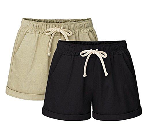 Vcansion Women's Drawstring Elastic Waist Casual Comfy Cotton Knit Shorts 2 Pack(Khaki+Black) US 4-6/Asian 2XL ()