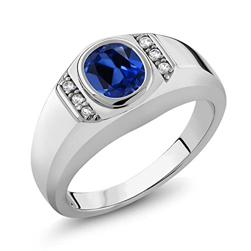 1.66 Ct Blue Simulated Sapphire White Created Sapphire 925 Silver Men's Ring