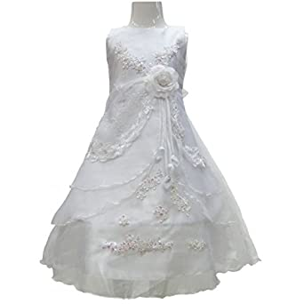 Girls White 1st Holy Communion Dress Party Flower Wedding Princess Prom Gown (3-4