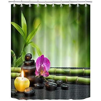 Amazon LB Purple Orchid Candle Spa Stones Zen Shower Curtain