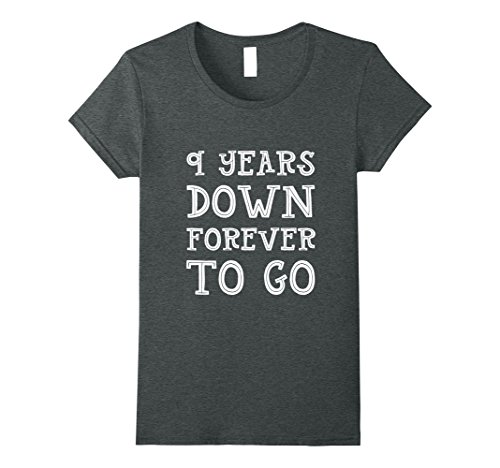 Womens 9th Wedding Anniversary Gift 9 Years Down Forever To Go Small Dark Heather