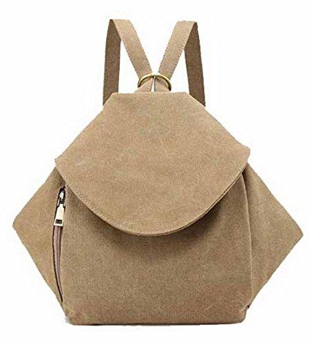 VogueZone009 Mujeres Bolsas de Hombro Compras Cremalleras Lona Bolsas de Mano,CCAYBP180638 Caqui