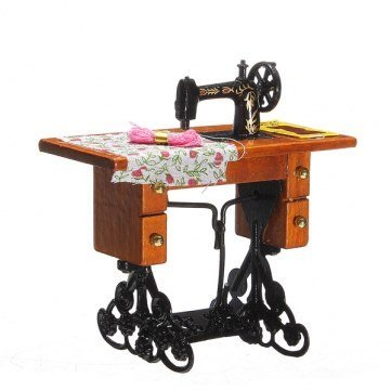 1:12 Vintage Sewing Machine Toys Little Girl Metal Wood Cloth Thread by Completestore