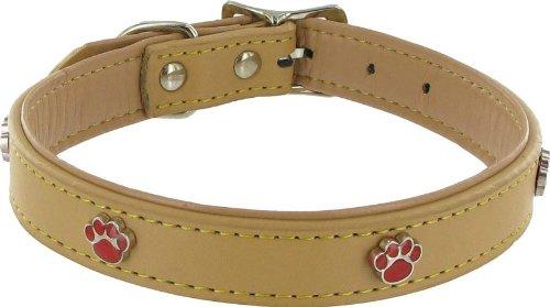 Kakadu Pet Paw Print Leather Dog Collar, 1″ x 21 1/2″, Tan, My Pet Supplies