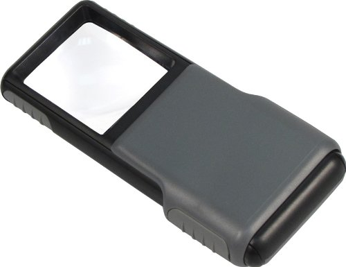 Carson MiniBrite LED Lighted Pocket Aspheric 5x Magnifier with Built-in Sliding Lens Cover ()