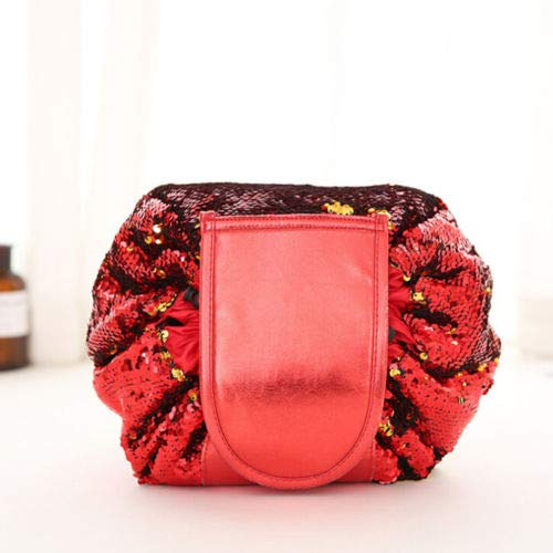 (Woemen Travel Cosmetic Bag Sequin Mermaid Organizer Makeup Drawstring Pouch Case (Color - Red))