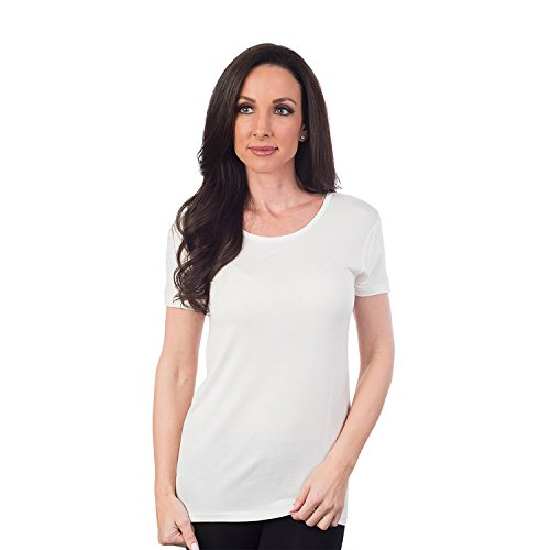White Basic Crewneck T-shirt (Agiato Women's Basic Rayon Crew Neck T-Shirt, White, Xtra Small)