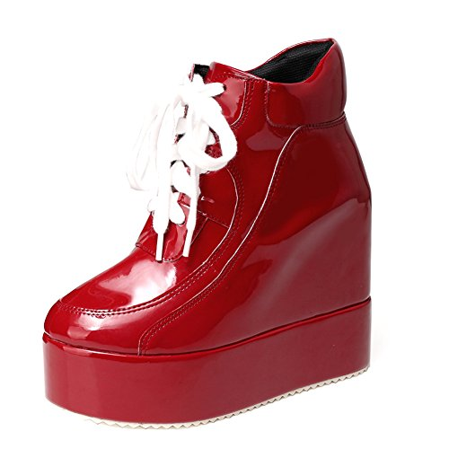 getmorebeauty Womens Hidden High Heel Platform Sneakers Wedge Lace Up Chelsea Punk Patent Ankle Boots (7.5 B(M) US, Red) ()
