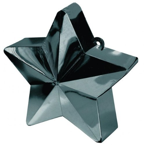 Wishing Star Electroplated Balloon Weight Party Decoration, Black, Plastic Foil , 6.0 Ounces (6 Ounce Star Weight)