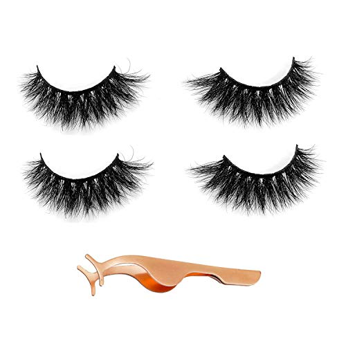 Newcally 3D Mink Eyelashes False lashes Thick Dramatic Premium Handmade 2 Pairs with Free Eyelashes Tweezer