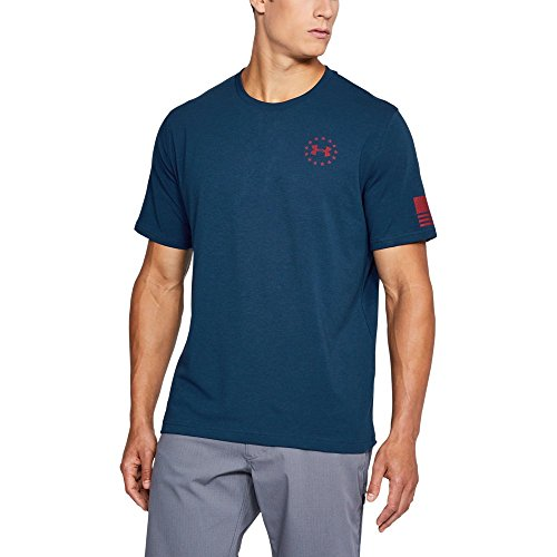 (Under Armour Men's Freedom Flag Tee Blackout Navy/Red)