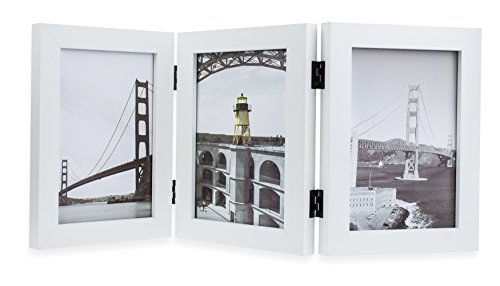 Frametory, 5x7 Inch Hinged Picture Frame with Glass Front - Made to Display Three 5x7 Inch Pictures, Stands Vertically on Desktop or Table Top (Triple, White)