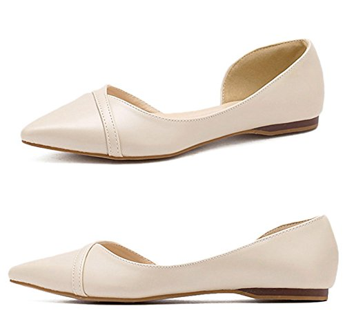 QZUnique Womens Classic Pointy Toe Shoes Ballet PU Leather Slip On Low Flats Beige bWFxy