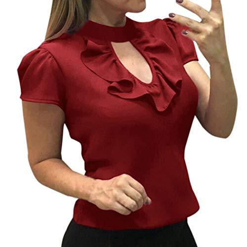 (YEZIJIN Fashion Women Short Sleeve Ruffle O-Neck Hollow Out Casual Shirts Blouses Fashion 2019 Under 10 Dollars)