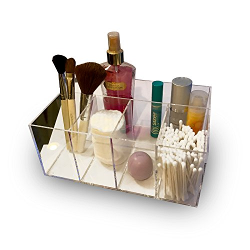 Exclusive Products Clear Premium Quality Plastic Vanity Cabinet Bathroom Box Organizer with 5 Compartments