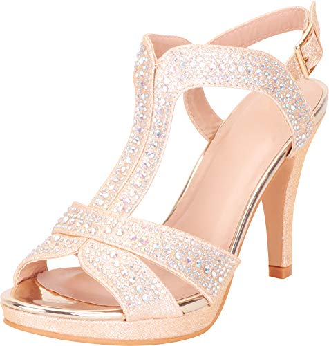 Cambridge Select Women's T-Strap Crystal Rhinestone Platform High Heel Dress Sandal,8 B(M) US,Champagne ()