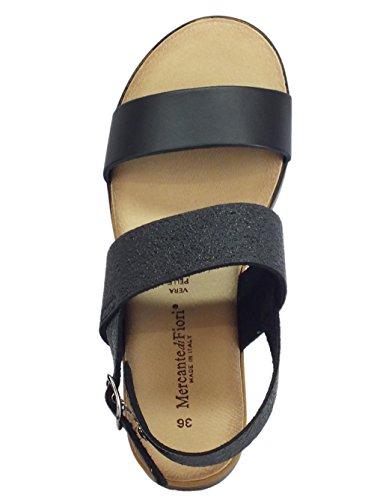 Sandales Fiori Mercante Noir Femme à di la Mode E1qOxwaqpn