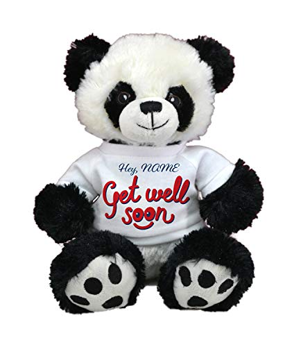 Customized GET Well Soon! Limited Edition! Cute Teddy Bear Plush Toys with Personalized Names Best for Visits by CustomizedbyBilgin (Panda) -