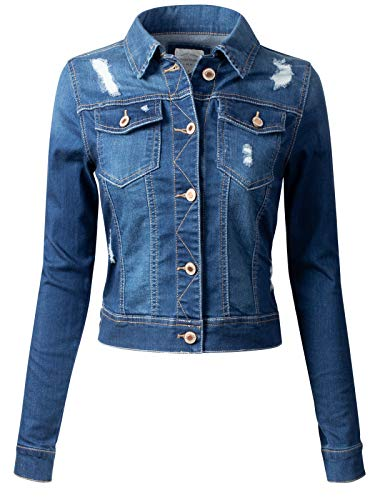 - Instar Mode Women's Long Sleeve Crop Top Button Up Comfort Stretch Denim Jacket, Idjw014 Medium Denim, Large