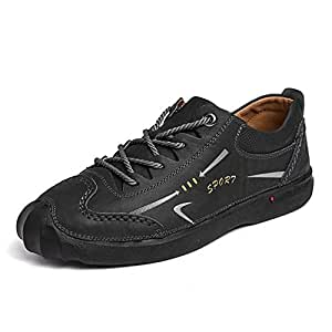 XUJW-Shoes, Outdoor Casual Athletic Shoes for Men Leather Comfortable Outdoor Sport Hiking Low Top Anti-Slip Flat Collision Avoidance Toe Lace Up Durable (Color : Black, Size : 6 UK)