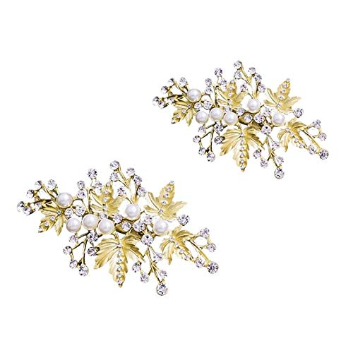 2x Gold Bridal Hair Pins Set, Wedding Leaf Hair Pin Hair Clips Q3T4