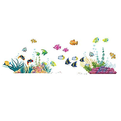 ElecMotive Ocean Wall Stickers for Under the Sea Theme Fish Coral Wall Mural Multicolored for Nursery Kids Room (Fish Coral) ()