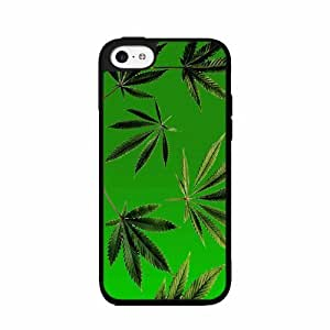 Green Weed Leaves- Plastic Phone Case Back Cover iPhone 5 5s