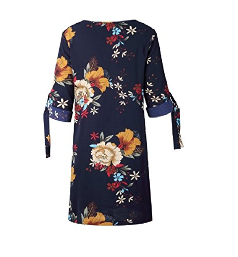 Sleeve Blue Short Rolled Plus Printing Dark O Size up Neck Coolred Women Dresses R0BWOw1
