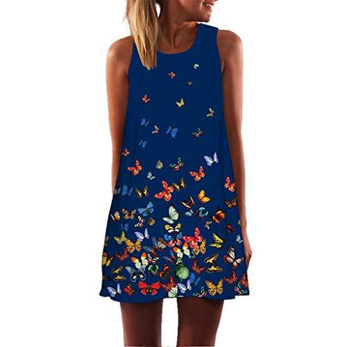 (Sunhusing Women's Refreshing Summer Vintage Bohemian Holiday Print Sleeveless Mini A-Line Dress Blue )