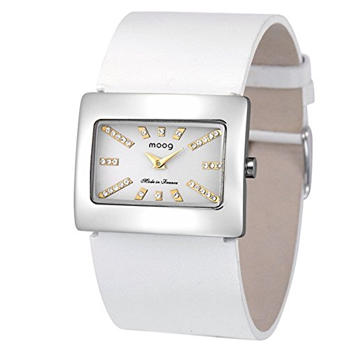 Moog Paris - Supra - Women's Watch with silver dial, white strap in Genuine leather, made in France - M41642-104