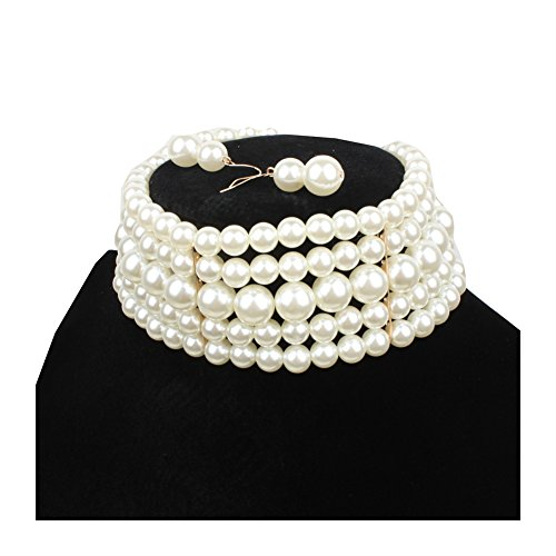 Ufraky Women Elegant Multi Strand Simulated Pearl Choker Necklaces and Earring Set (White)