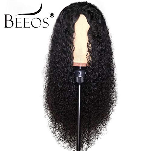 (BEEOS Hair Curly 13x6 Lace Front Human Hair Wigs Pre Plucked With Baby Hair Brazilian Remy Hair Human Hiar Wigs,)