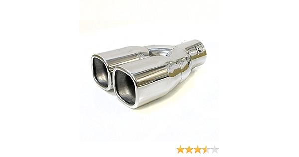 Autohobby 1907 - Doble apertura de tubo de escape, silenciador universal, tubo de escape doble, tubo de escape, tubo de escape deportivo, de acero ...