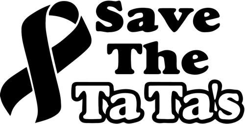 save-the-tatas-breast-cancer-vinyl-decal-sticker-bumper-car-truck-window-8-wide-matte-white-color