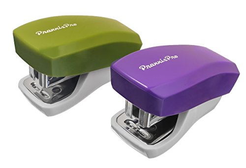PraxxisPro, Mini Staplers, Built in Staple Remover, Staples 2 to 18 Sheets, Set of 2, Purple and Greenery.