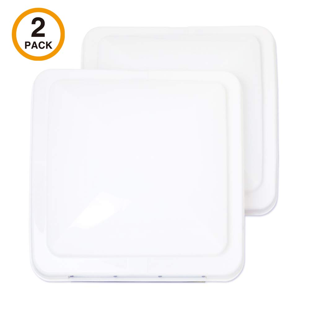 ONLTCO Rv Roof Vent Cover Replacement 14 x 14, White Vent Lid for Camper Trailer Motorhome Bathroom, 2 Pack by ONLTCO