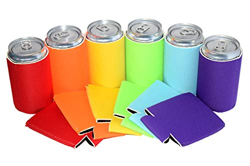 QualityPerfection - 7.5 oz Mini Neoprene Can Cooler Sleeves - Soda Small Can Sleeves - Great For Coca Cola,Pepsi,Dr Pepper,Soda Mini Cans ((Assorted 6 Colors, 12) ()