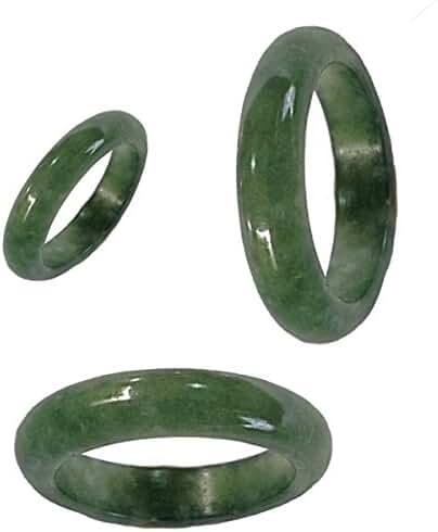 KARATGEM Green Jadeite Jade Ring 6 mm US Size 4.5-12