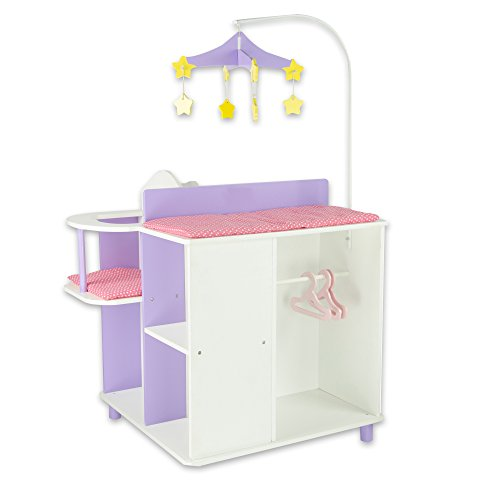 Olivia's Little World - Princess Baby Doll Furniture - Baby Changing Station with Storage (White) | Wooden 18 inch Doll Furniture