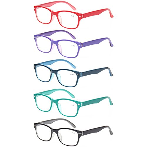 Price comparison product image Reading Glasses 5 Pairs Men and Women Readers Flexible Spring Hinge Glasses for Reading (5 Pack Mix Color,  3.00)