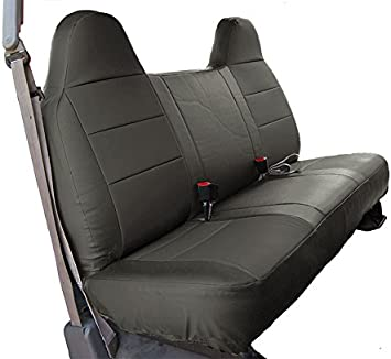 FORD F-150 BLACK//CHARCOAL IGGEE S.LEATHER CUSTOM FIT BENCH FRONT SEAT COVER