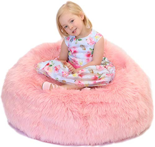 Fluffy Stuffs | Super Soft Furry Stuffed Animal Storage Bean Bag Chair Cover for Kids | Premium Plush Fur | Canvas Handle | Make Bedroom Clutter Comfortable and Fun for Children | Machine Washable (Bean Bag Long Fur)