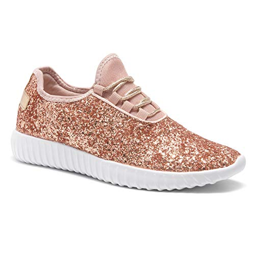 (Herstyle Wome's Moniqie Giltter Flat Heel, Glitter Details, Front lace-up Rose Gold 10)
