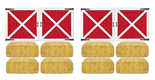 Beistle S52069AZ2 Barn Loft Door & Hay Bale Props 12 Piece, 15.5
