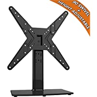 Universal Swivel TV Stand/ Base Table Top TV Stand for 21 to 47 inch TVs with 90 Degree Swivel, 4 Level Height Adjustable, Heavy Duty Tempered Glass Base, Holds up to 99lbs, HT02B-002