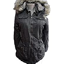 YMI New Fashion Cotton Fur Lining Thick Winter Drawstring Hoodie Olive Jacket Coat ML