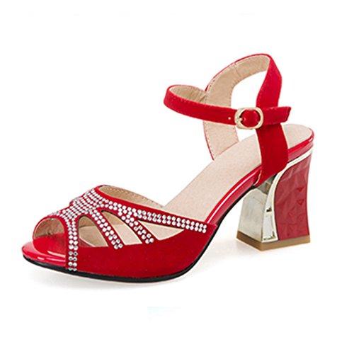 de Plate Talon Orteil Chunky Femmes Sandale Robe Strass Rouge Forme Coin Sandales étincelant Ouvert Haut Mariage FtIFvqw