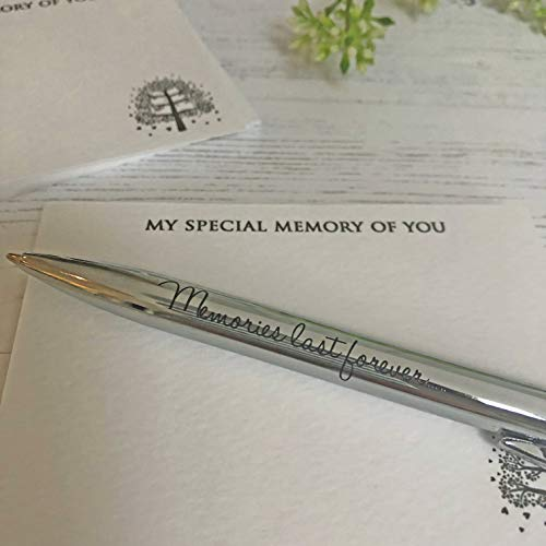 (Angel & Dove 'Memories Last Forever' Silver Ballpoint Pen in Velvet Pouch for funeral memory condolence guest book or recording special memories in a journal)
