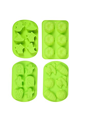 IHOMECOOKER 4PC Silicone Halloween Ghost Pumpkin Baking Mold Set